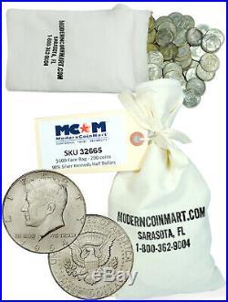 $100 Face Bag 200 Coins 90% Silver 1964 Kennedy Half Dollars Avg Circ SKU32665