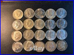 $10 1964 Kennedy Half-Dollars 90% Silver 20-Coin Roll (BU)