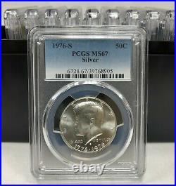 10 1976 S Kennedy Silver Half Dollar PCGS MS67 10 Coin Set
