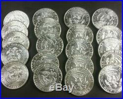 $10 Face Value 1964 Kennedy Half Dollars BU 90% Silver Full Roll 20 Coins