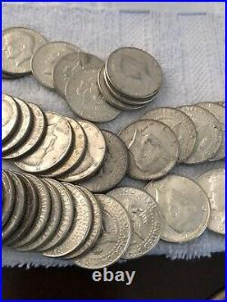 10 Kennedy Half Dollars 1964, 90% Silver Coin Lot, Circulated