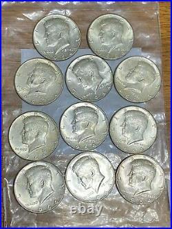 11- 90% Silver Kennedy Half Dollars Pre 1965, Not Junk Silver 5.50 FV