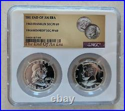 1963 Franklin and 1964 Kennedy Proof Half Dollar NGC PF 69 End of an Era Holder