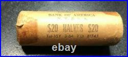 1964 20$ Double Roll Of Kennedy Silver Half Dollars Bank Of America N. T&s. A