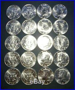 1964 90% Silver Kennedy Half Dollar Roll of 20