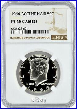 1964 Accent Hair 50c Silver Proof Kennedy Half Dollar NGC PF 68 Cameo