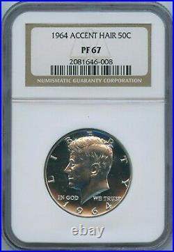 1964 Accent Hair NGC PF67 Kennedy Half Dollar 50c PR Rare Accented 1964-P PF-67