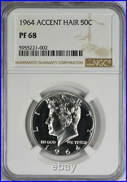 1964 Accented Hair Silver Kennedy Half Dollar NGC Accent PF68 PR68 Blast White