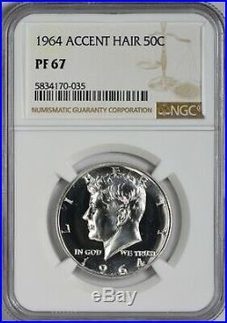 1964 Accented Hair Silver Kennedy Half Dollar NGC PR67 Blast! Always Popular