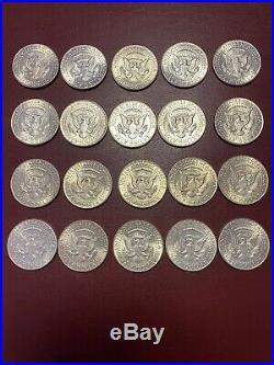 1964 BU Uncirculated 20 Coins 90% Silver Kennedy Half Dollar-Roll Unc