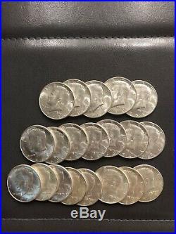 1964 Brilliant Kennedy Silver Half Dollars 20 COINS