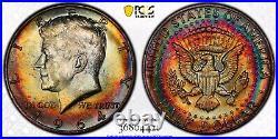 1964-D Kennedy Half Dollar PCGS MS64 Absolute Ultra Rainbow Toned Double Rainbow