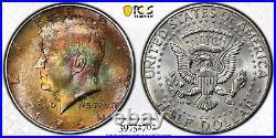 1964-D Kennedy Half Dollar PCGS MS65 Rainbow Toned Obverse