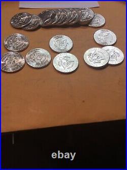 1964 Kennedy Half Dollar 20 COIN FULL ROLL BU 90% SILVER