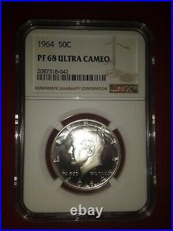 1964 Kennedy Half Dollar 50c Ngc Certified Pf 68 Proof Unc Ultra Cameo (001)