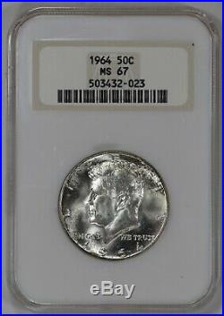 1964 Kennedy Half Dollar 50c Ngc Ms 67 Mint State Ash White Fatty Holder (023)