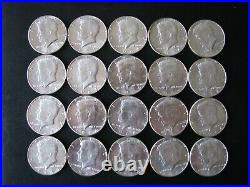 1964 Kennedy Half Dollar 90% Silver 20 US Coins bright and excellent condition