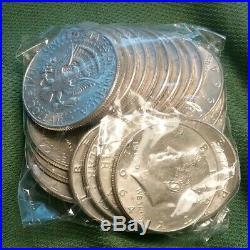 1964 Kennedy Half Dollar Full Roll 20 Coin Lot $10 Face 90 Percent US Silver
