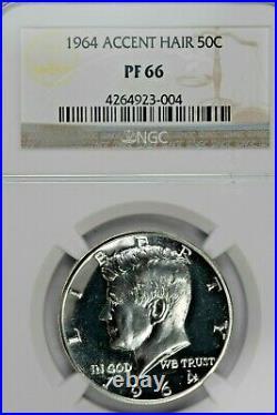 1964 Kennedy Half Dollar Proof Accented Hair FS-401 DDO DDR NGCPF66 Die Variety