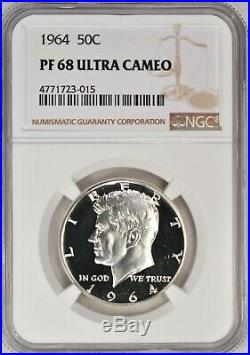 1964 Kennedy Half Dollar Proof NGC PF 68 ULTRA CAMEO / PR68DCAM Frosty Coin