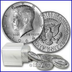 1964 Kennedy Halves $10 90% Silver 20 Coin Roll Avg. Circ