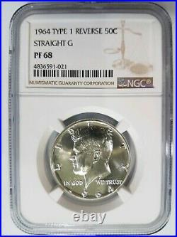 1964 Kennedy Silver Half Dollar NGC PF 68 Type 1 Straight G Proof PR DPL DMPL