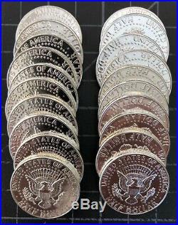 1964 Kennedy Silver Half Dollars. (20 Coin Roll). AU. Beautiful