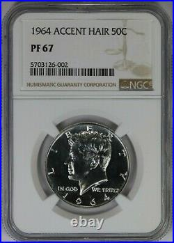 1964 NGC 50C Silver Kennedy Half Dollar Proof PF67 Accent Hair Variety 002