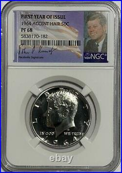 1964 NGC PF68 PROOF SILVER KENNEDY ACCENT HAIR HALF JFK COIN 50c SIGNATURE LABEL
