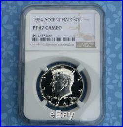 1964 NGC Proof 67 Cameo Accented Hair Silver Kennedy Half, PF 67 Cam Variety