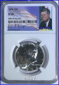 1964 Ngc Pf69 Proof Silver Kennedy Half Dollar Jfk Coin Signature Label 50c