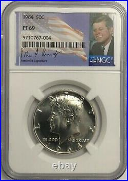 1964 Ngc Pf69 Silver Proof Kennedy Half Dollar Bright White Coin 50c 90%
