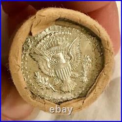 1964 Obw Original Bank Wrap Roll Bu Uncirculated Silver Kennedy Half Dollars