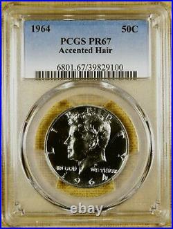 1964 PCGS PR67 Accented Hair Kennedy Half Dollar
