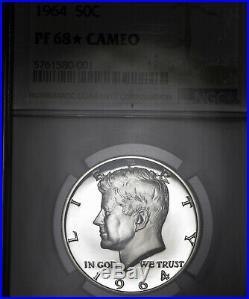 1964 PF68 STAR Cameo Kennedy Half Dollar 50c Proof, NGC Graded PR68 CAM