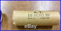 1964-P Silver Kennedy Half Dollar BU DOUBLE ROLL $20 40 Coins OBW Shotgun roll