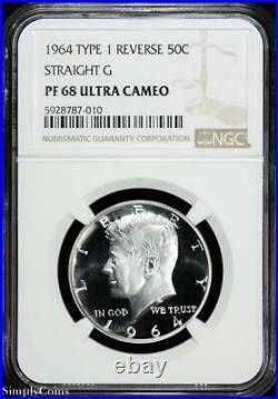 1964 Type 1 STRAIGHT G Kennedy Half Dollar NGC PF68 ULTRA CAMEO UCAM PROOF X1-31