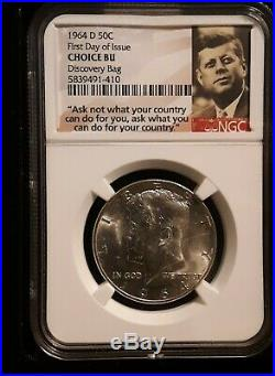1964-d Kennedy Half Dollars 50c From Discovery Mint Bag Ngc Choice Bu Fdoi