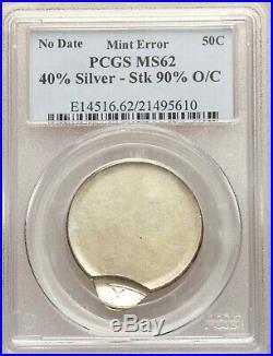 1965 1970-D PCGS MS62 Kennedy Half Dollar 90% Off Center Error No Date 40% Slv