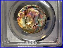 1965-P Kennedy Half Dollar PCGS MS64 Vibrant Vivid Rainbow Toned