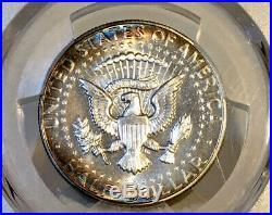1966-P Kennedy Half Dollar PCGS SP66+ SMS RAINBOW TONED DUAL TONING OBV & REV