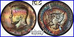 1966-P Kennedy Half Dollar SMS PCGS SP65 Vivid Double Rainbow Toned Obv & Rev