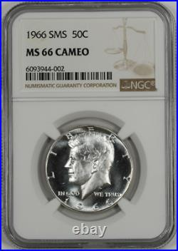 1966 SMS 50C Kennedy Half Dollar NGC Near Superb BU MS 66 Cameo Highest Grades