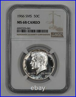 1966 Sms Kennedy Half Dollar 50c Ngc Certified Ms 68 Mint Unc Cameo (001)