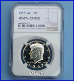 1967 NGC MS 67 Star Cameo SMS Kennedy Half Dollar, Gem MS 67 Star & Cameo