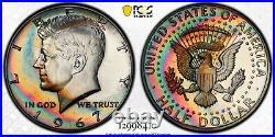 1967-P Kennedy Half Dollar SMS PCGS SP67CAM Ultra Vivid Double Rainbow Toned