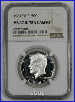 1967 Sms Kennedy Half Dollar 50c Ngc Ms 67 Mint Unc Ultra Cameo (002)