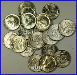 1969 D BU Kennedy Half Dollar Roll 40% Silver In Plastic Tube 20 Coins