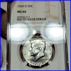 1969-D MS66 Kennedy Half Dollar 50c, NGC Graded, Colorful Reverse Tone