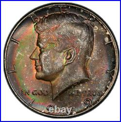 1969-D PCGS MS63 Toned Kennedy Half Dollar with Rainbow Toning! Beautiful Coin